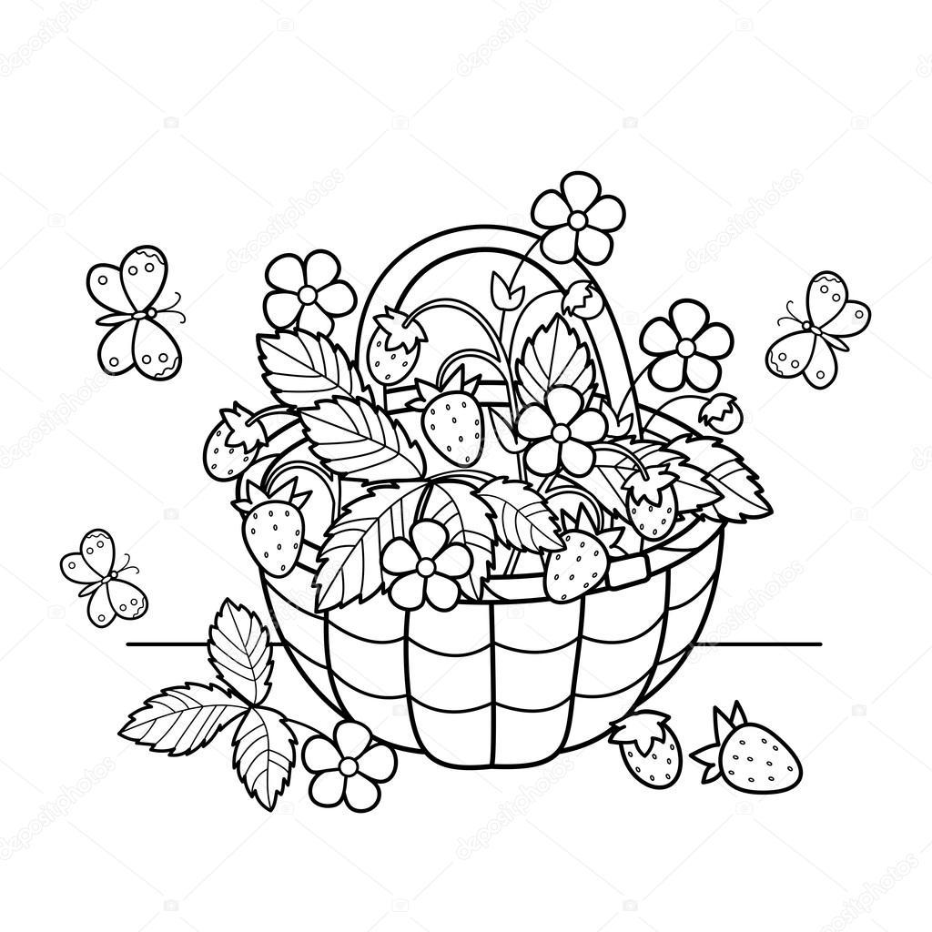 1024x1024 Coloring Page Outline Of Cartoon Basket Of Berries. Garden