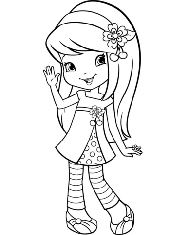 349x480 Strawberry Shortcake Cherry Jam Coloring Page Free Printable