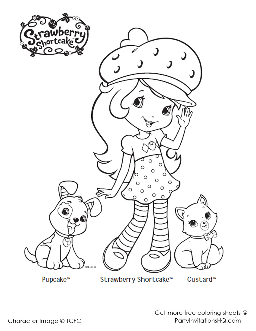 850x1100 Strawberry Shortcake Coloring Page