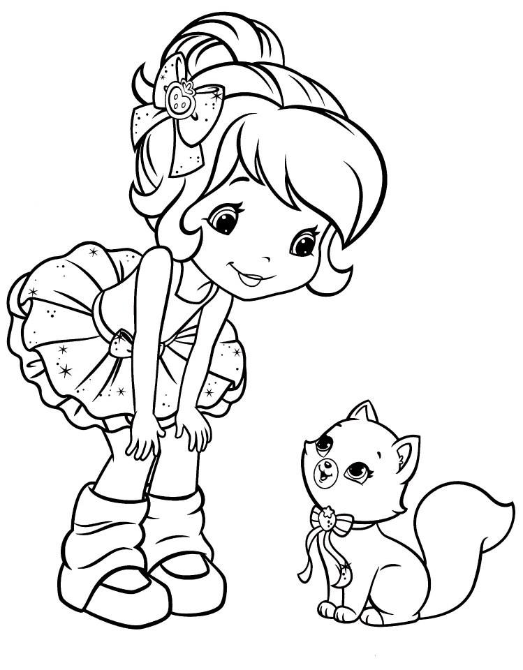 749x960 Ballerina Strawberry Shortcake Talking To Custard Coloriage