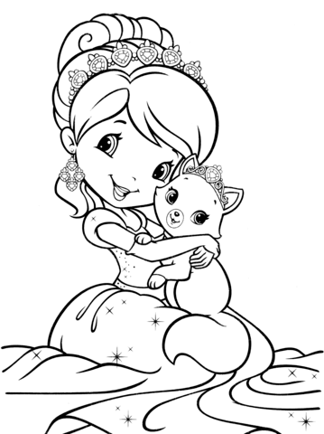 359x480 Strawberry Shortcake Mermaid Coloring Page Free Printable
