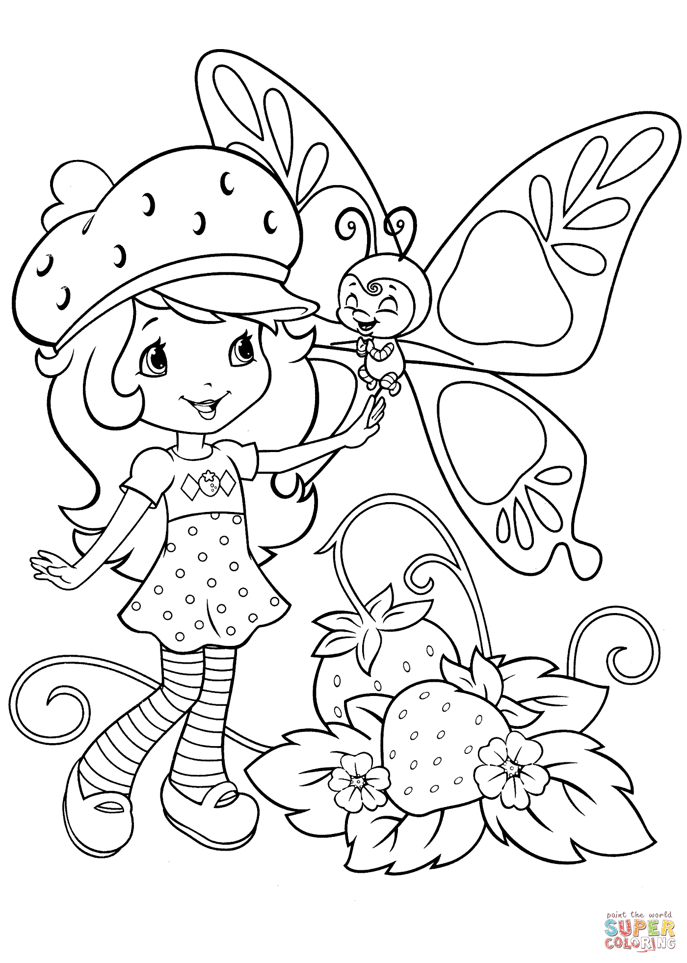 1400x1962 Strawberry Shortcake And Butterfly Coloring Page Free Printable