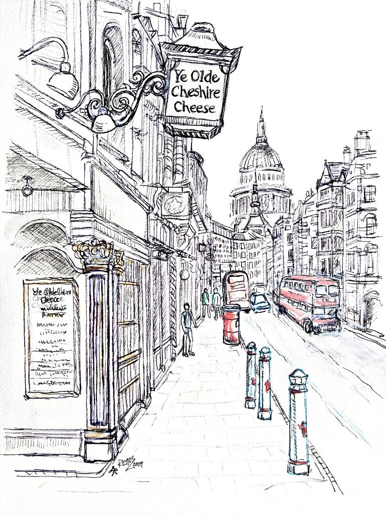 770x1027 Saatchi Art Cheshire Cheese In Fleet Street Drawing By Renos Lavithis