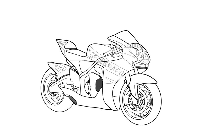 900x582 Free Printable Motorcycle Coloring Pages For Kids