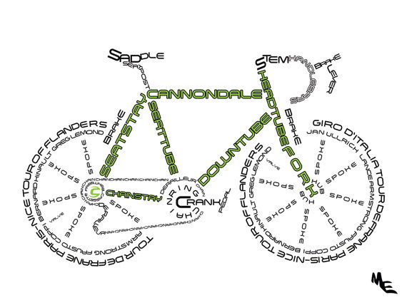 570x428 Cannondale Street Bike Typography, Custom Wall Poster, Digital