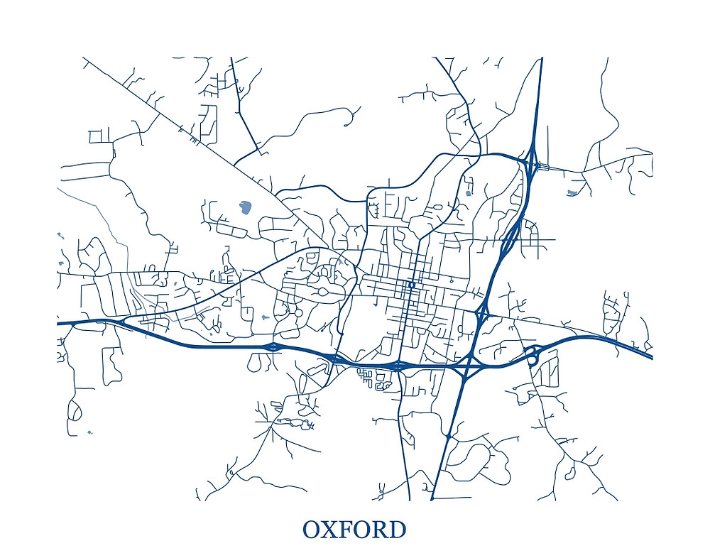 1000x786 Oxford, Mississippi Abstract Street Map Print By Ericoquinn