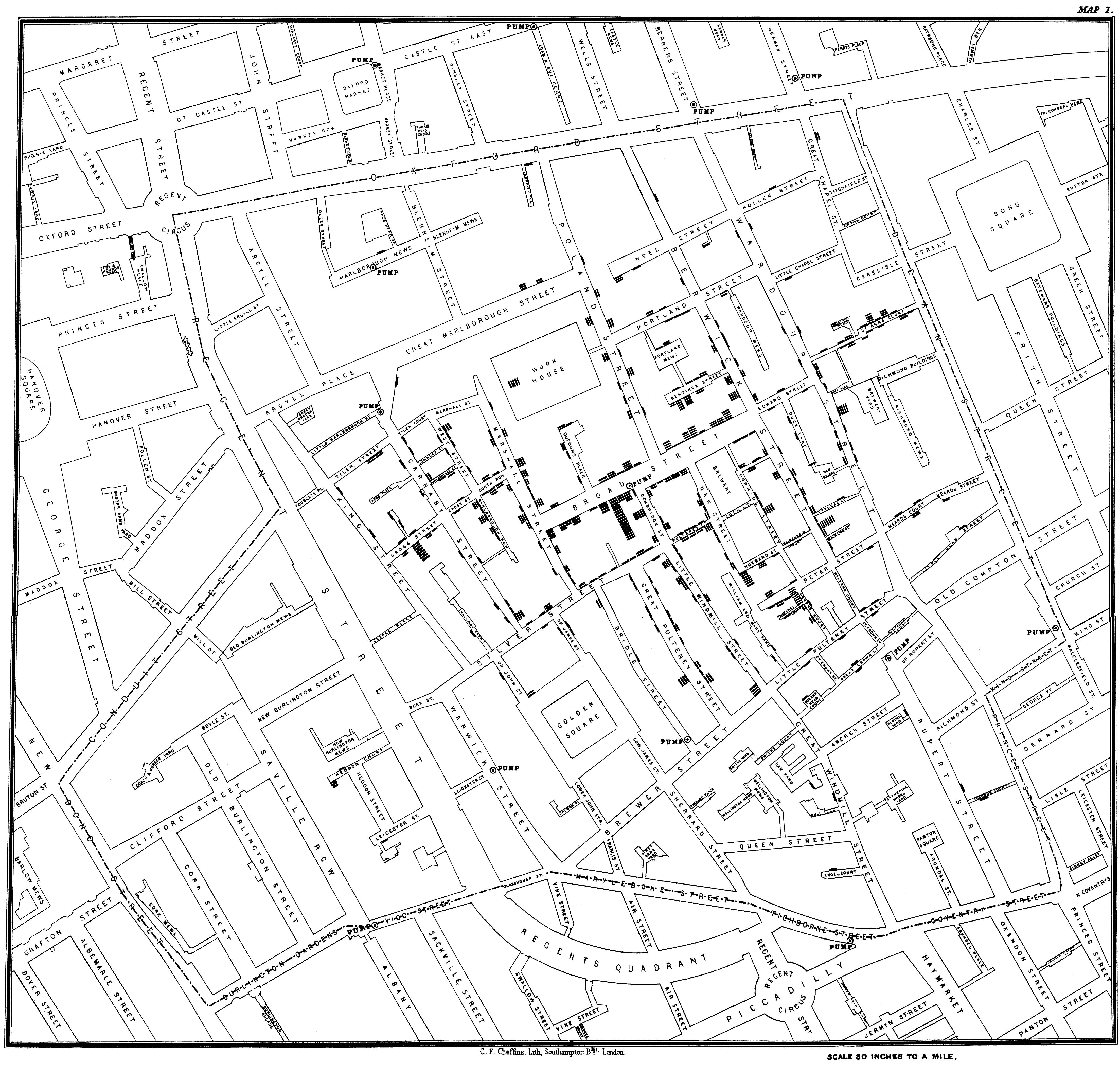 4417x4201 Dr. John Snow's Map Of The 1854 London Cholera Outbreak Data