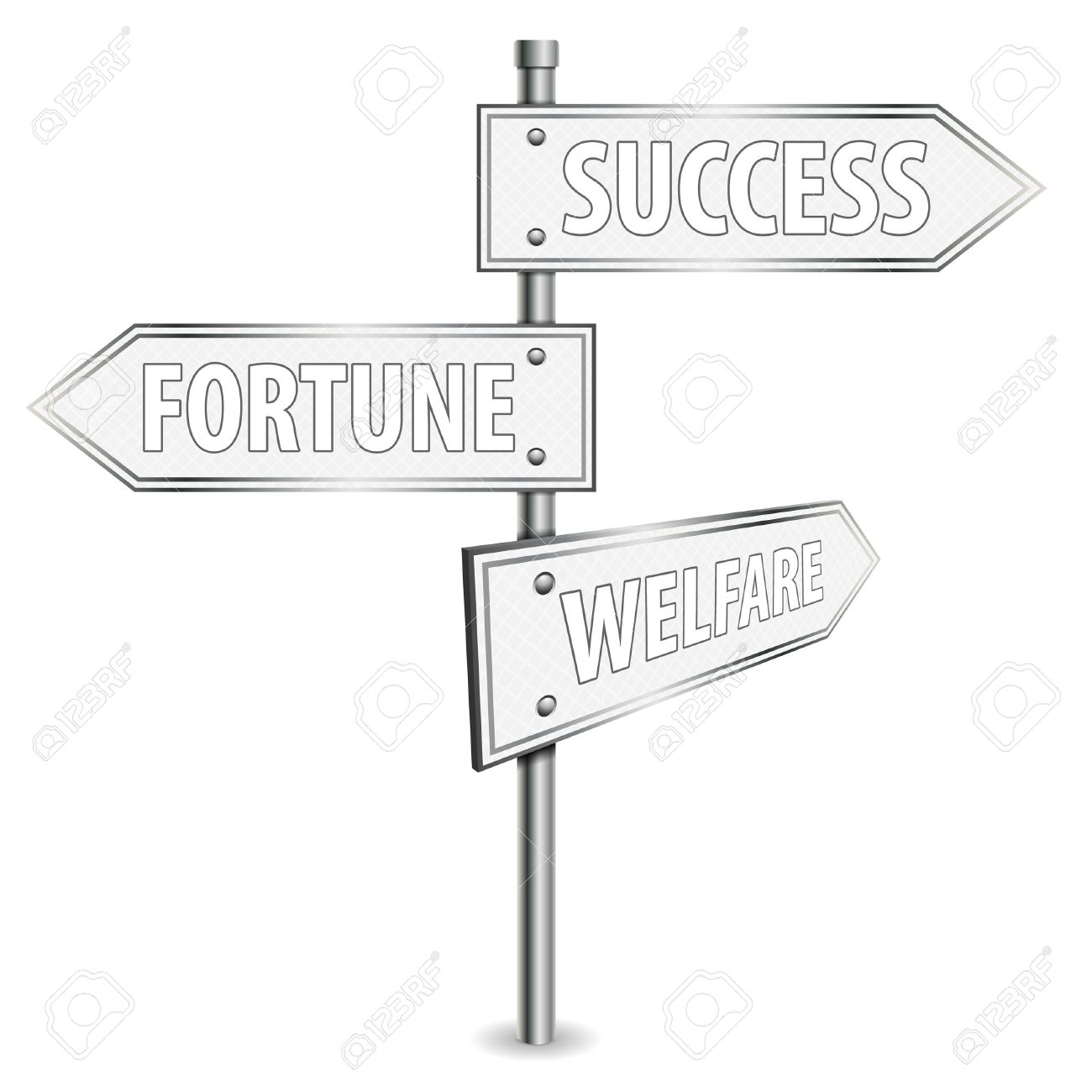 1300x1300 Pole With Success Road Signs, Vector Illustration Royalty Free