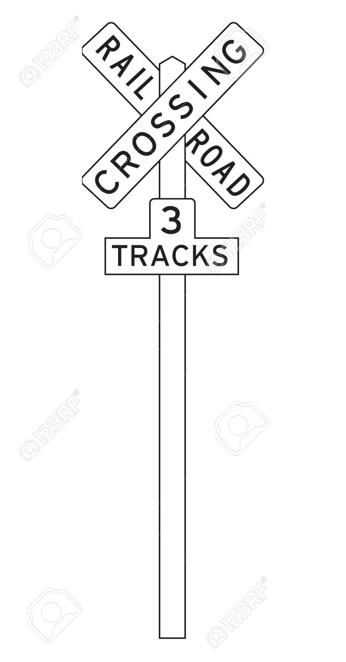 680x1300 Railroad Crossing Sign Isolated On A White Background. Stock Photo