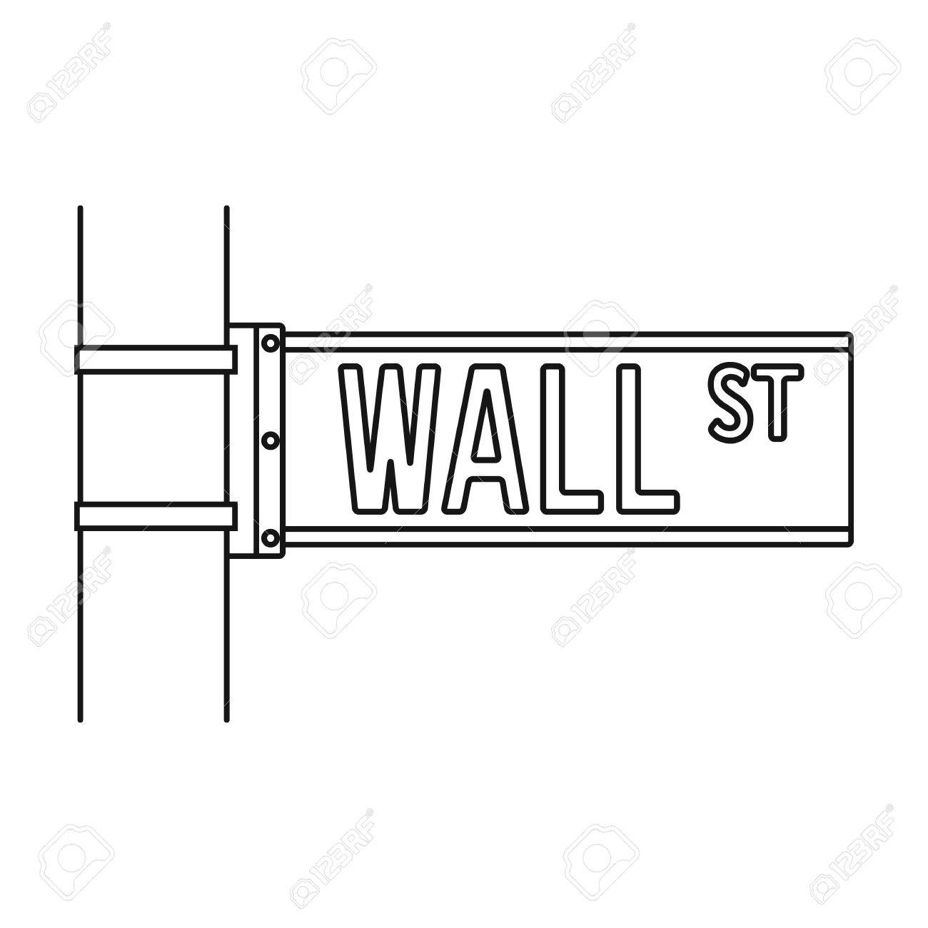 1300x1300 Wall Street Sign Icon In Outline Style Isolated On White