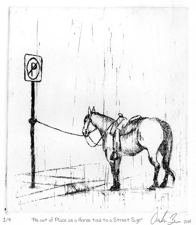 834x958 As Out Of Place As A Horse Tied To A Street Sign By Blindthistle