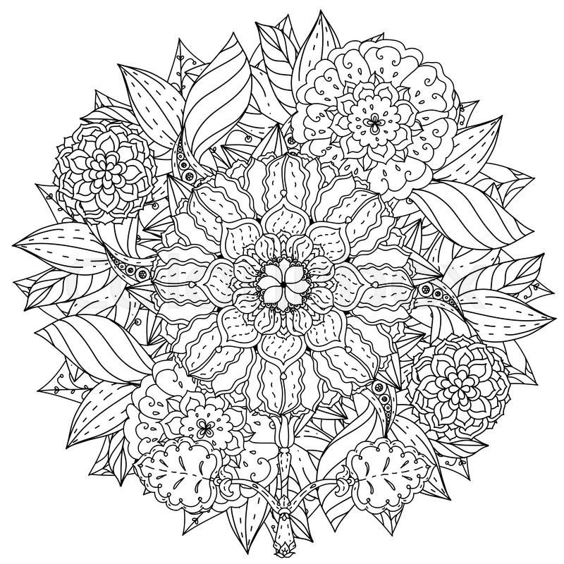 800x800 Contoured Mandala Shape Flowers For Adult Coloring Book In Zen Art