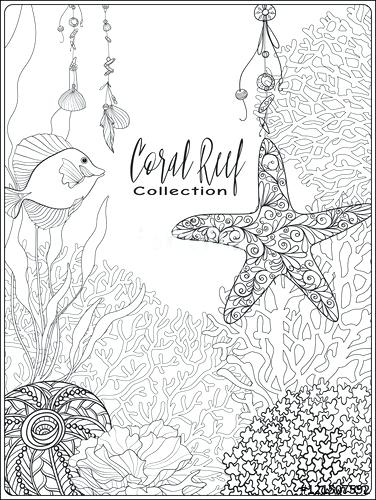 376x500 Coral Reef Coloring Page Coral Reef Stress Coloring Book For Adult