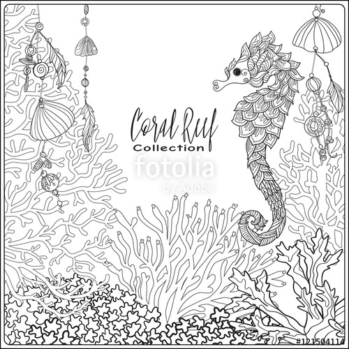 500x500 Coral Reef Collection. Anti Stress Coloring Book For Adult