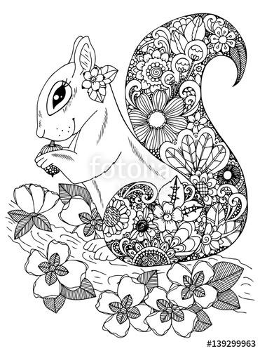 371x500 Vector Illustration Zentangl, Squirrel With Flowers. Doodle
