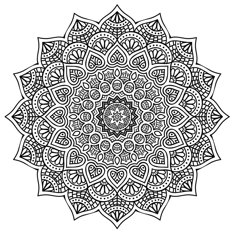 800x800 High Resolution Mandala Coloring For Stress Relief Free Download