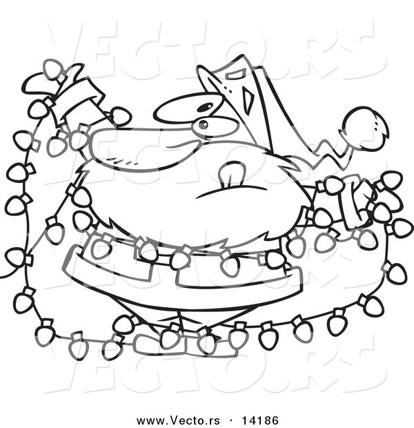 600x620 vector of a cartoon santa tangled in christmas lights
