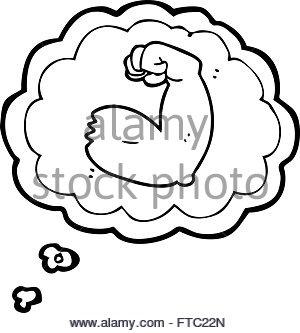 300x333 Freehand Retro Cartoon Strong Arm Flexing Bicep Stock Vector Art