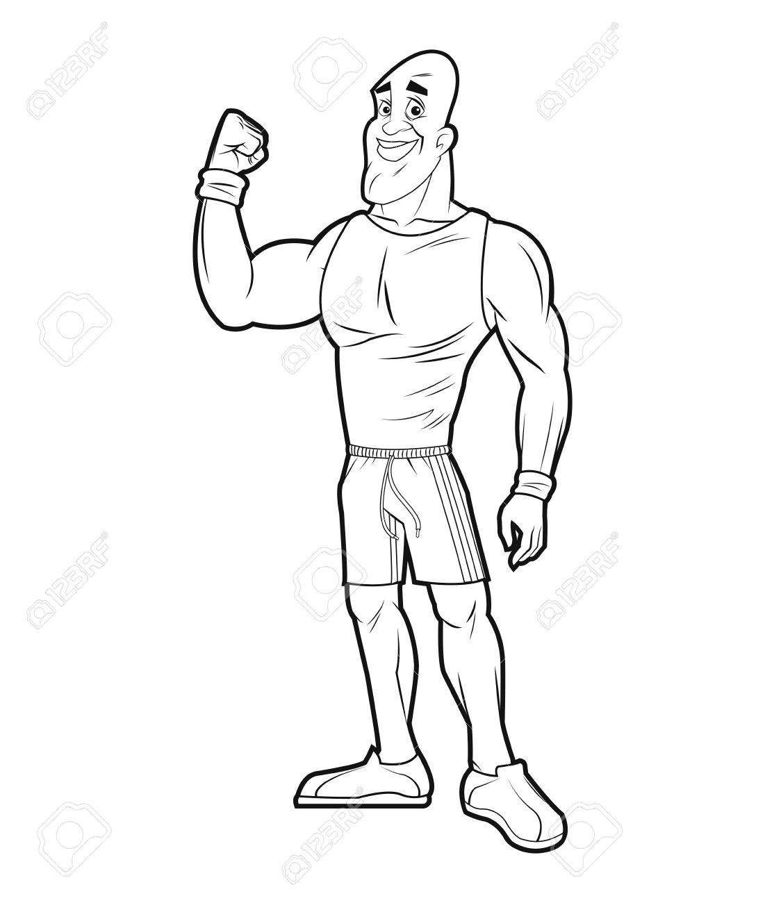 1101x1300 Healthy Man Athletic Strong Arm Sketch Vector Illustration Royalty