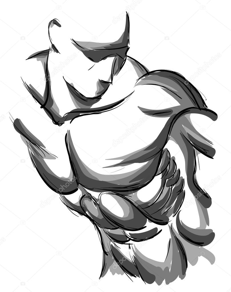 809x1023 Sketch Of Strong Man. Stock Vector Ice Storm