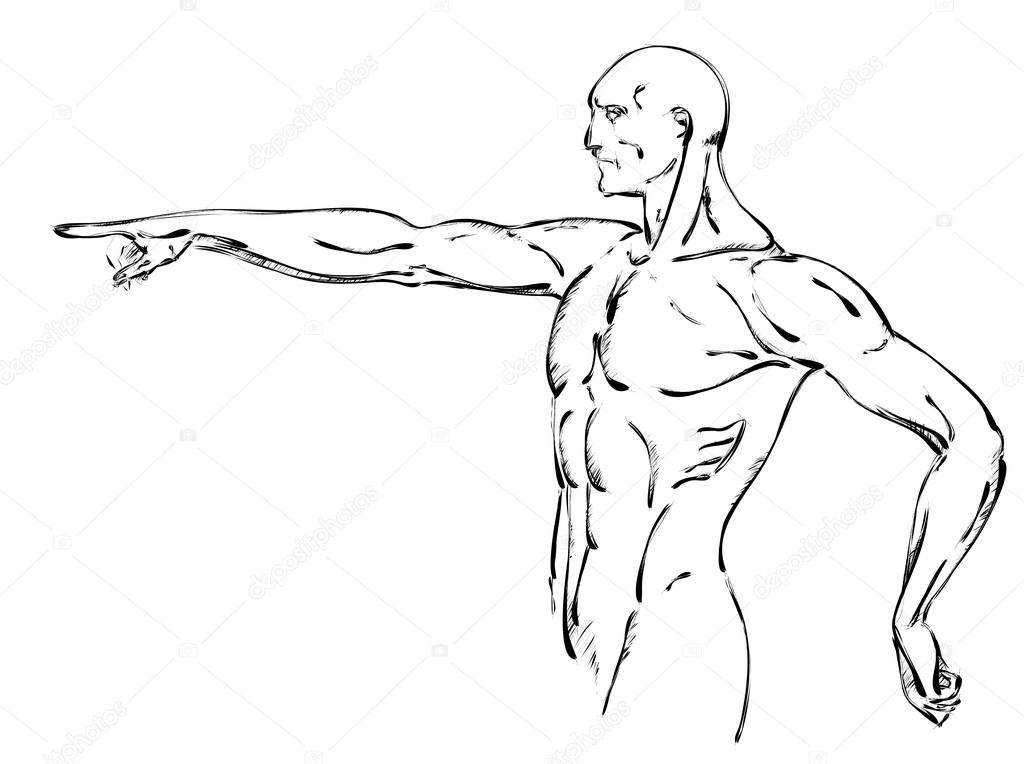 1024x764 Sketch Of Strong Man. Stock Vector Ice Storm