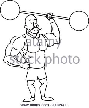 300x364 Circus Strong Man Mustache Dumbbell. Vector Illustration Stock