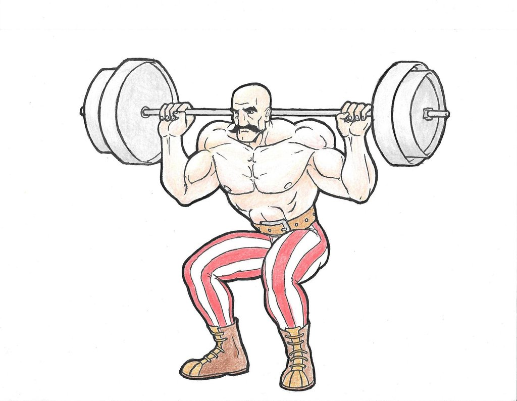 1024x794 Circus Strong Man Barbell Squat By Rurrrb
