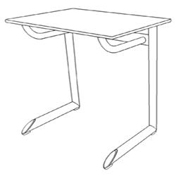 250x250 Student Desk Genio P, One Seater