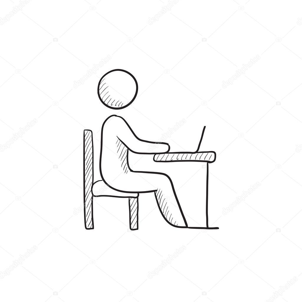 1024x1024 Student Working On Laptop Sketch Icon. Stock Vector Rastudio