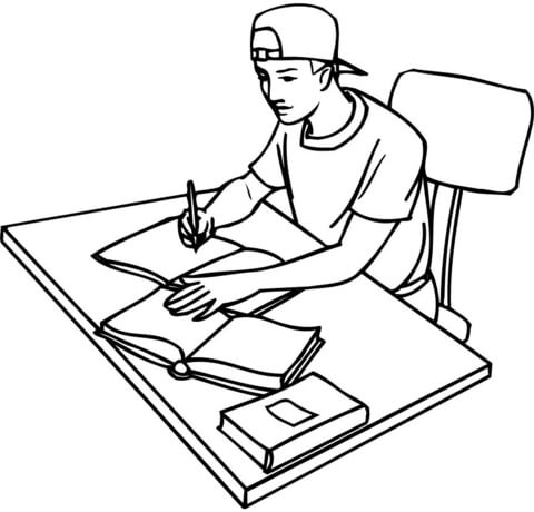 480x460 Teenager Student Studying With Books Coloring Page Free