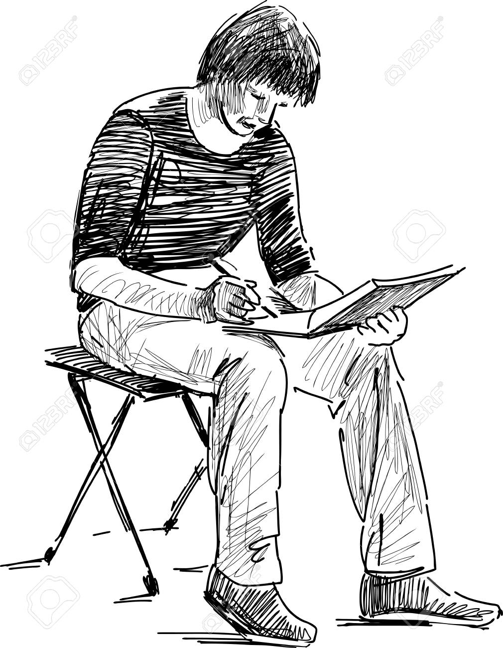 1010x1300 Vector Drawing Of A Student Makes Sketches Royalty Free Cliparts