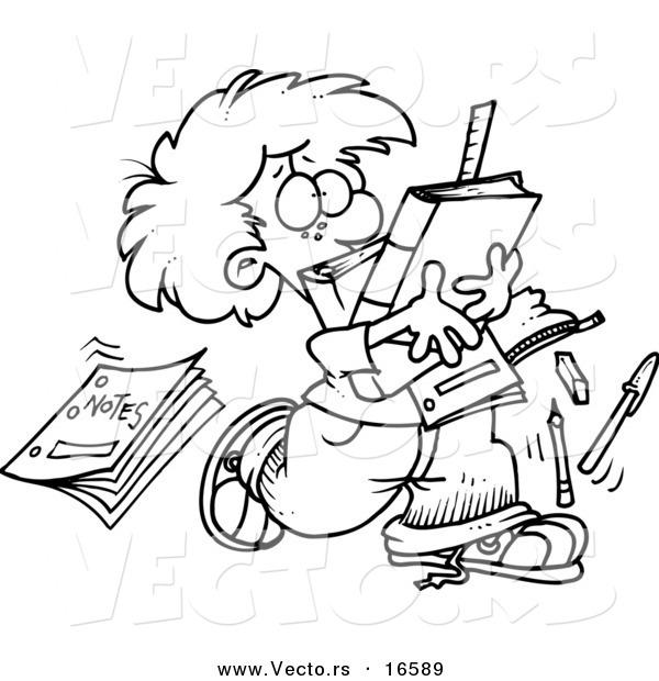 600x620 Vector Of A Cartoon School Boy Dropping Notes