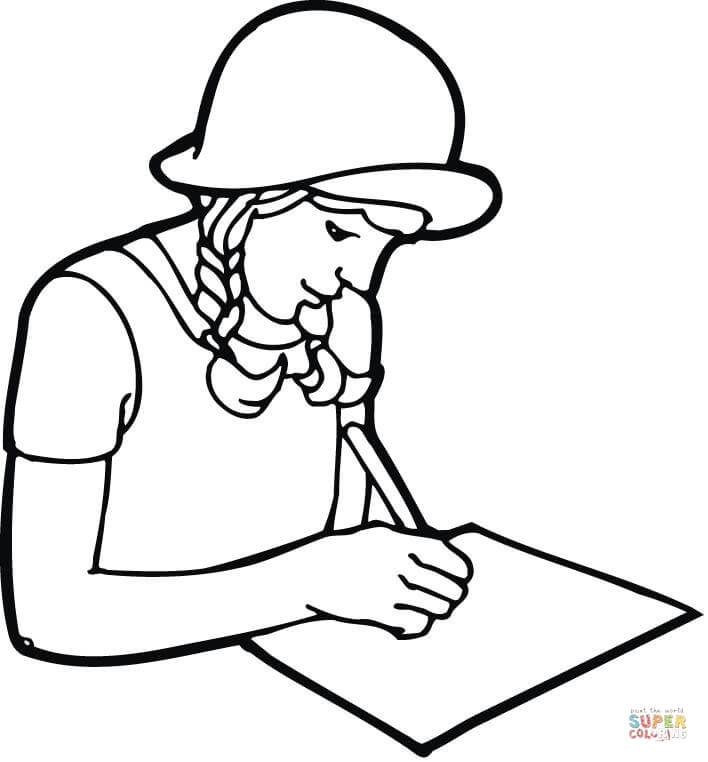 708x762 Teenager Student Studying With Books Coloring Page Free