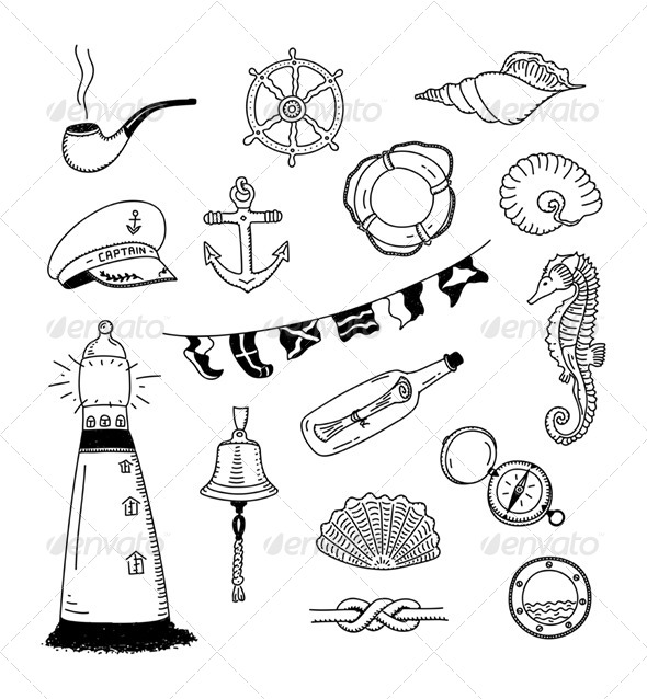 590x638 Sea Vector Doodle Collection By Bloomicon Graphicriver
