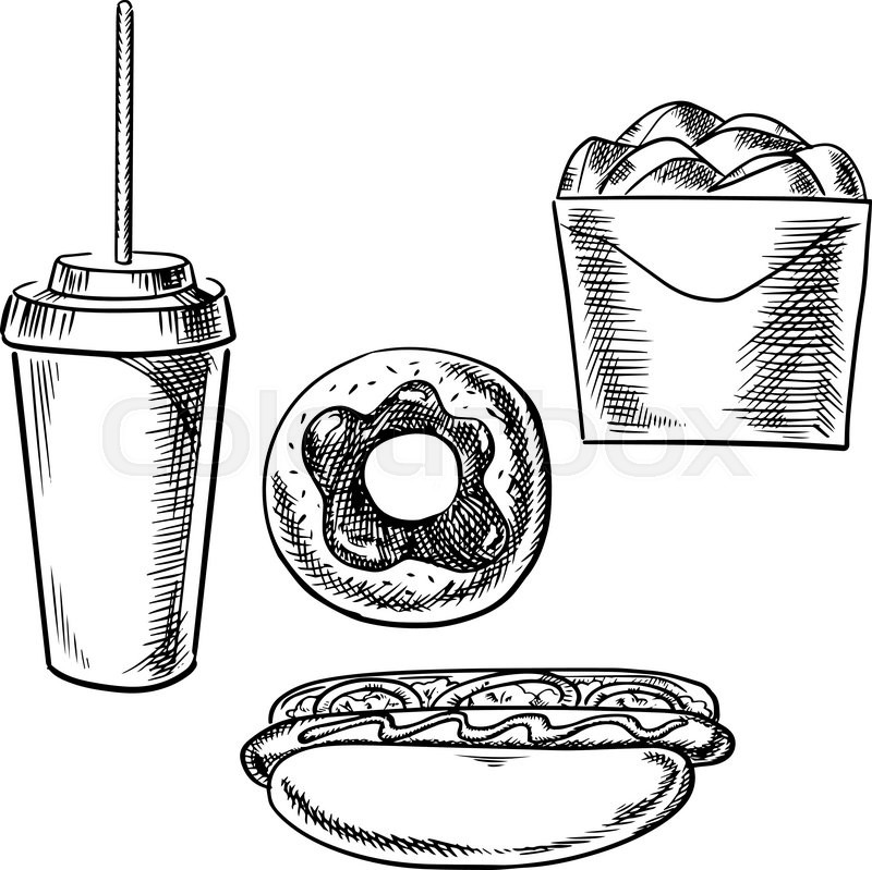 800x799 Coffee In A Styrofoam Cup And Donut Vector Illustration On White