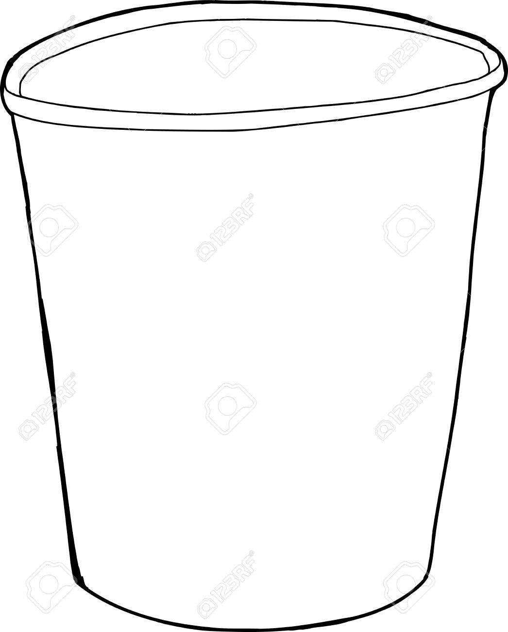 1046x1300 Single Empty Cup Outline Drawing Over White Background Royalty