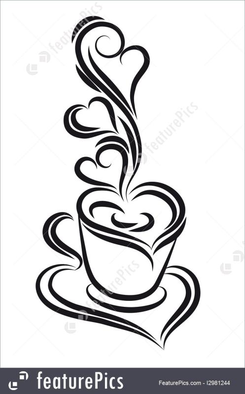 497x800 Coffee Cup Clipart Black And White
