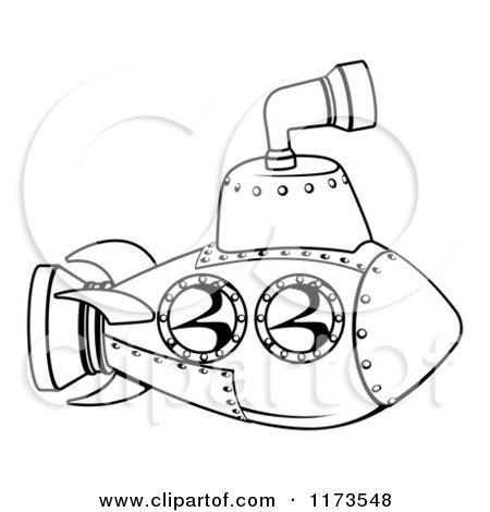 450x470 Cartoon Of A Black And White Submarine Outline
