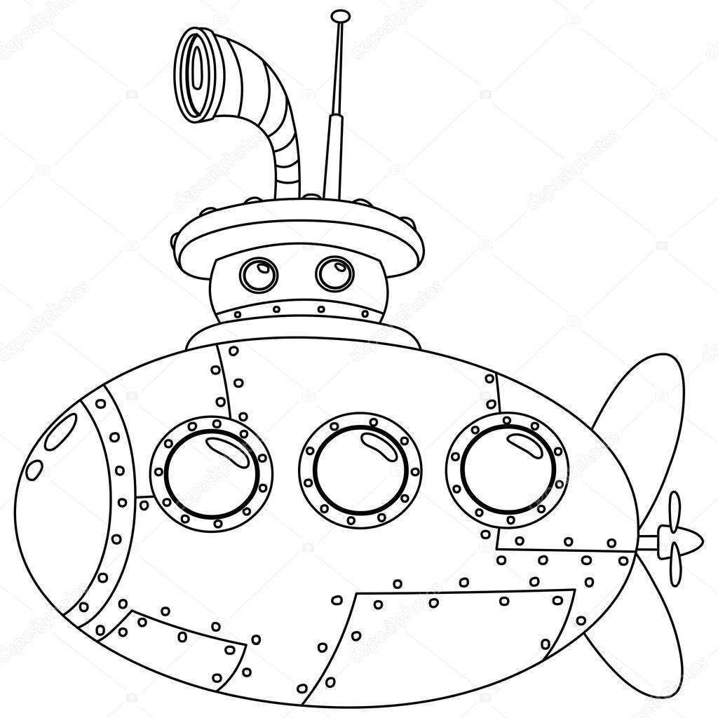 1024x1024 Outlined Submarine Stock Vector Yayayoyo