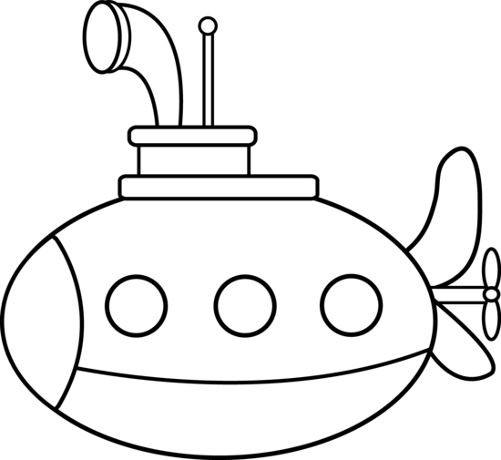 550x505 Cute Submarine Coloring Page