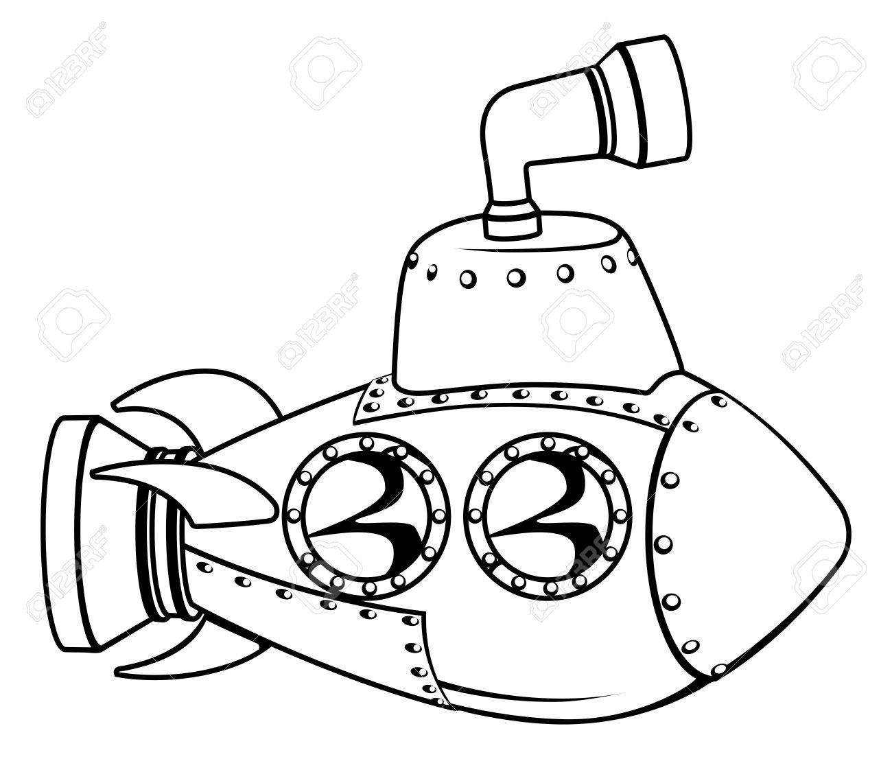 1300x1106 Illustration Of A Cute Cartoon Submarine In Black And White