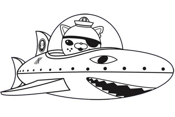 600x404 Kwazii And Shark Submarine In The Octonauts Coloring Page