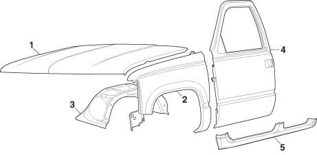461x225 Front Steel Body Panels 1992 99 Chevrolet Blazer, Tahoe