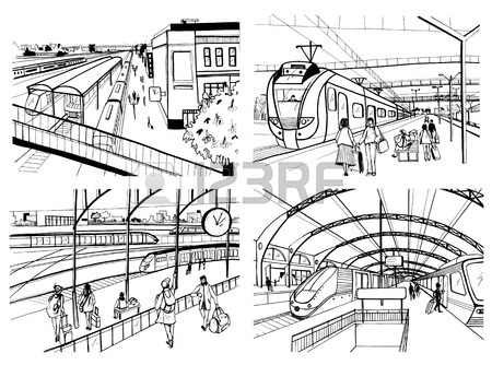 450x334 Set Of Sketches With Railway Station. Passengers On Platform