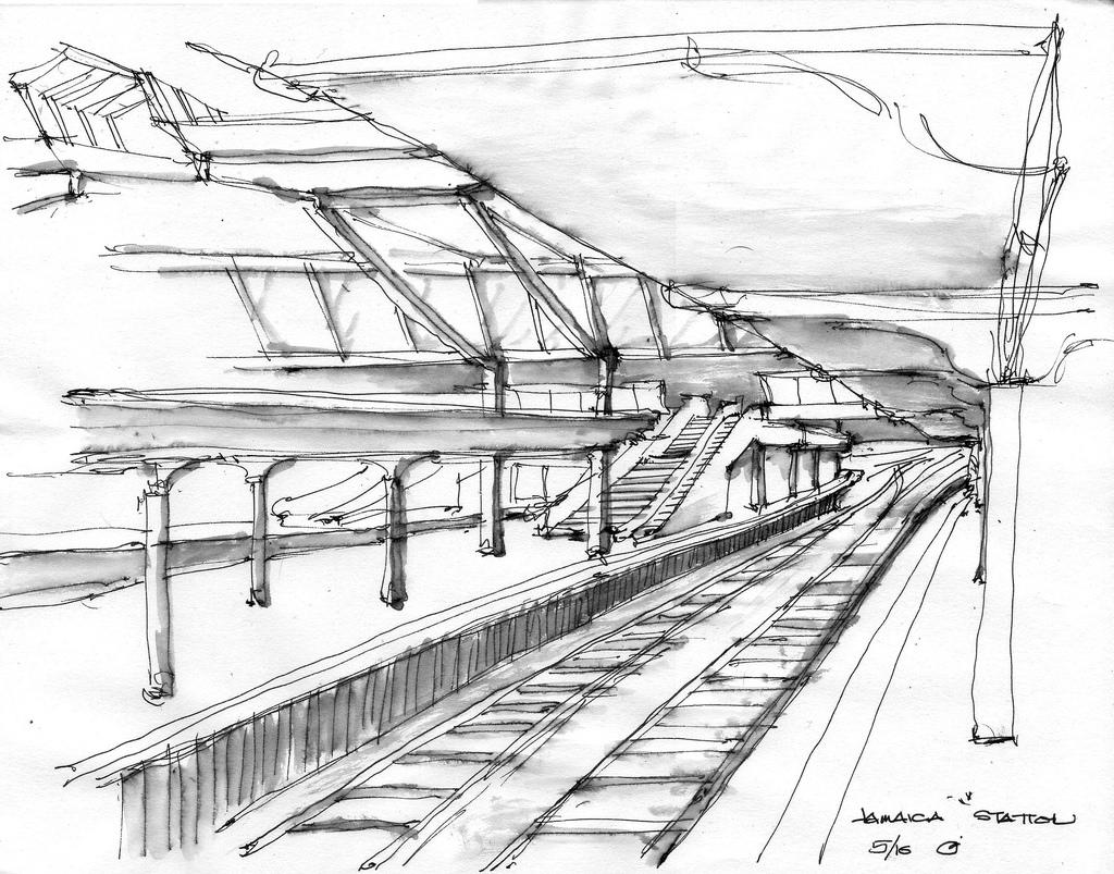 1024x803 Jamaica Station A Quick Sketch On The Subway Platform