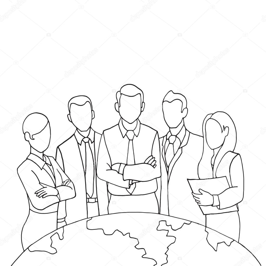 1023x1023 Hand Drawing Successful Team Leader Stock Vector 9george