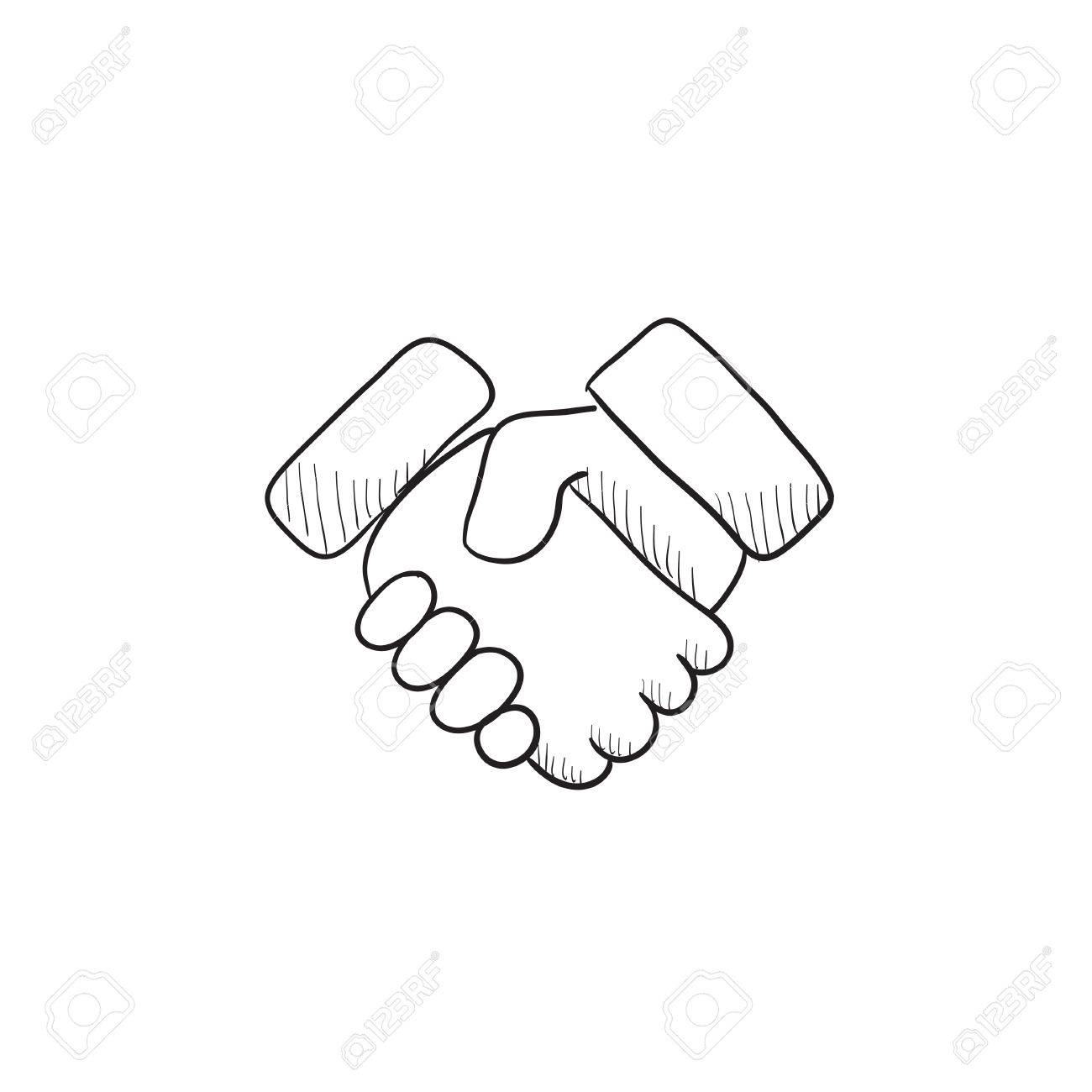 1300x1300 Handshake And Successful Real Estate Transaction Vector Sketch