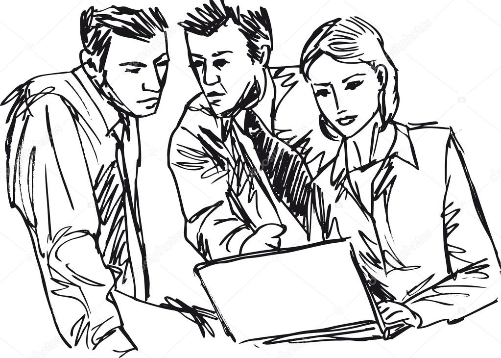 1023x730 Sketch Of Successful Business Working With Laptop