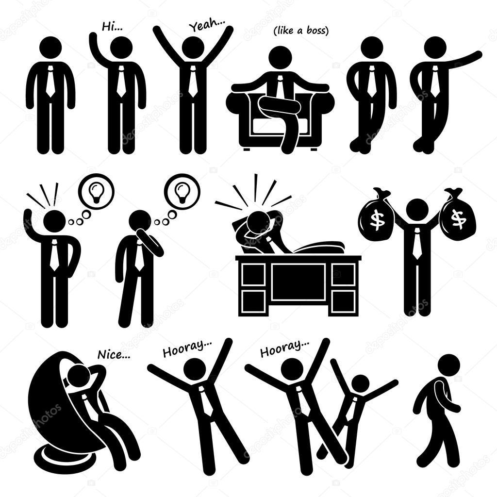 1024x1024 Successful Happy Businessman Poses Stick Figure Pictogram Icons