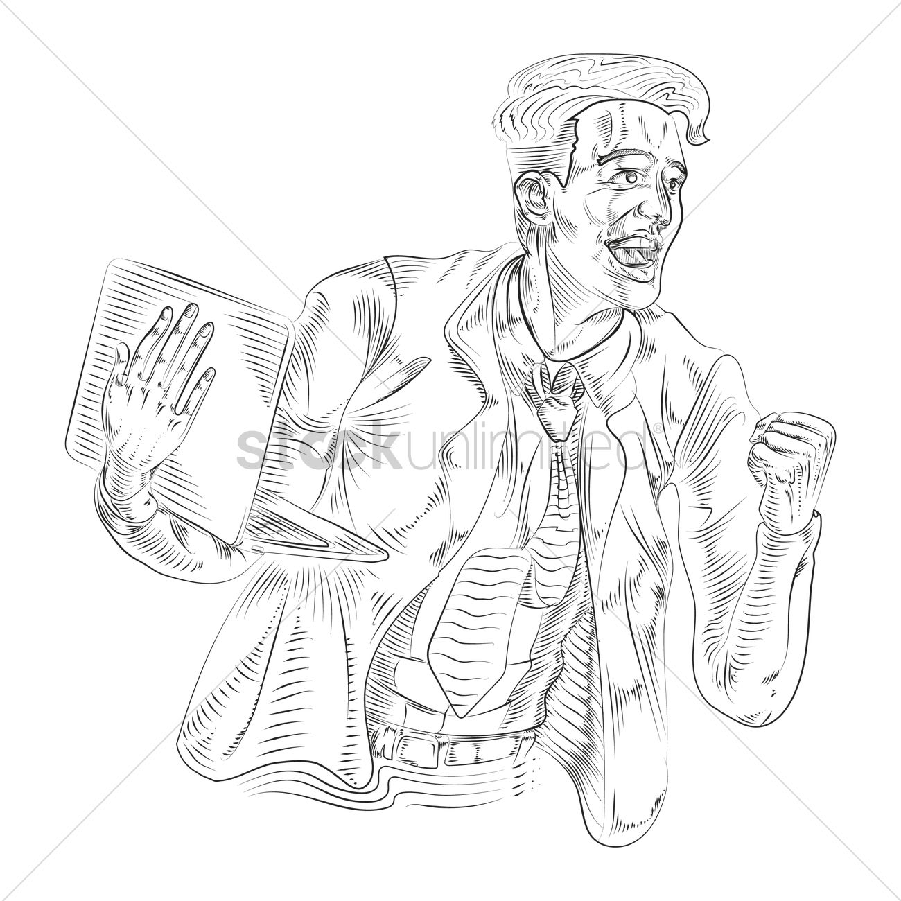 1300x1300 Drawing Of A Successful Businessman Vector Image